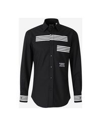 Burberry Printed Striped Shirt in het Black voor heren