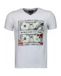 Local Fanatic Scarface Dollar - T-shirt in het White voor heren