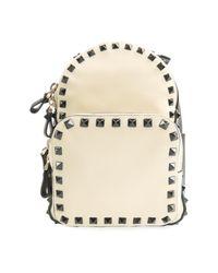 Valentino Garavani Rockstud Leather Backpack in het White