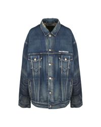 Balenciaga Over Denim Jacket in het Blue