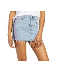 Volcom Skirt Light Wash Denim Dyed Side Fringe in het Blue
