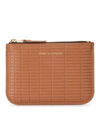 Comme des Garçons Wallet Brick Line Leather Purse in het Brown