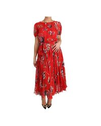 Dolce & Gabbana Silk Fish A-line Shift Gown Dress in het Red