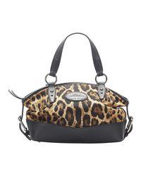 Borsa in tela con stampa leopardata di Dolce & Gabbana in Brown