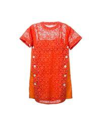 Sacai Lace Trim Sangallo Dress in het Orange
