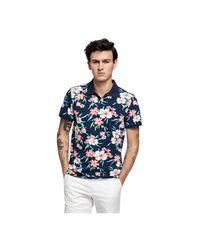Gant Floral Pique Rugger T-shirt in het Blue voor heren