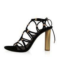Ferragamo Black Suede Fiuggi 105 Heeled Sandals 9C 39.5C