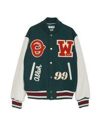 Off-White c/o Virgil Abloh Barrel Leather Varsity Jacket in het Green voor heren