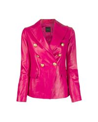 Tagliatore Leather Jacket With Metal Buttons in het Pink