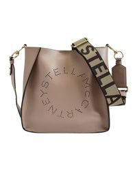 Stella McCartney Mini-crossbodytas Met Stella-logo in het Natural