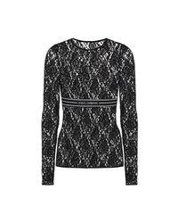 Dolce & Gabbana Jacquard Bijgesneden Lace Top in het Black