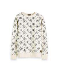 Scotch & Soda Crewneck Sweat With Logo All-over Printed Sweaters Ecru in het White voor heren