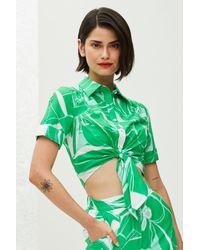 MILLY Green Stencil Floral Print Bonnie Short Sleeve Top