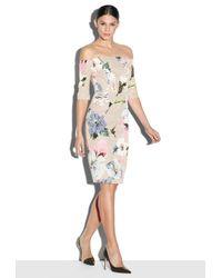 MILLY | Multicolor Paper Floral Print Slim Off The Shoulder Dress | Lyst