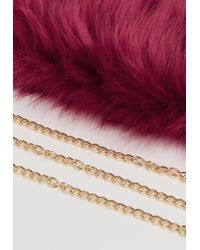 Missguided - Red Oversized Faux Fur Clutch Bag - Lyst