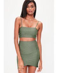 Missguided - Green Khaki Bandage Asymmetric Mini Skirt - Lyst