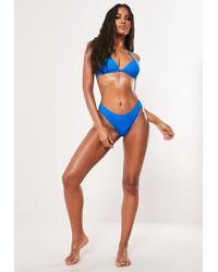Missguided Blue Basic Minimal Triangle Bikini Top