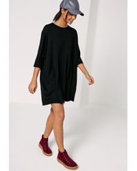 Missguided Oversized Raglan T Shirt Dress Black