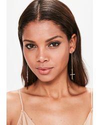 Missguided | Metallic Gold Drop Cross Earrings | Lyst