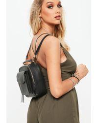 Missguided Black Front Pocket Square Mini Backpack
