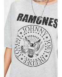 Missguided Gray Grey Ramones T-shirt Dress