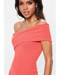Missguided - Pink Coral One Shoulder Maxi Dress - Lyst
