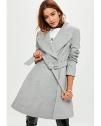 Missguided   Gray Grey Belted Short Wool Skater Coat   Lyst
