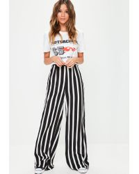 Missguided - Black Wide Leg Trousers - Lyst