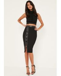 Missguided Black Faux Leather And Lace Detail Eyelet Midi Skirt