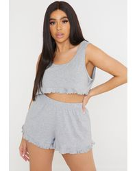 Missguided Gray Size Grey Frill Crop Top And Pyjama Shorts Set