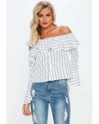 Missguided White Stripe One Shoulder Flute Sleeve Top