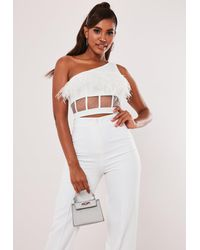 Missguided White Feather Mesh One Shoulder Crop Top