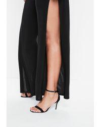 Missguided - Curve Black Slinky Side Split Wide Leg Pants - Lyst