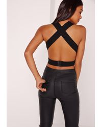 Missguided Cross Back Cut Out Bralette Black