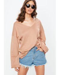 Missguided Natural Nude V Neck Raw Edge Sweatshirt