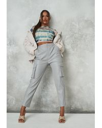 Missguided Gray Faux Leather Pocket Tapered Trousers