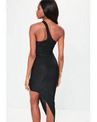 Missguided Black One Shoulder Asymmetric Hem Midi Dress