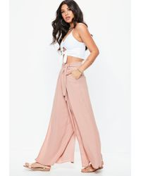 Missguided Multicolor Petite Nude Extreme Split Bellted Wide Leg Trousers