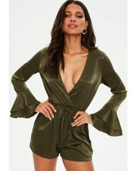 f846fb4d311 Missguided Khaki Satin Flare Sleeve Playsuit in Green - Lyst