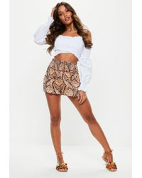 Missguided Black Paisley Shirred Waist Shorts