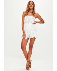 2de3652f94e Lyst - Missguided White Bandeau Lace Romper in White