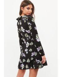 Missguided Black Floral Ruffle Tea Dress