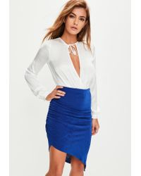 Missguided - Blue Slinky Ruched Side Midi Skirt - Lyst