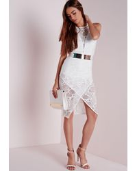 Missguided Crochet Lace Origami Midi Dress White