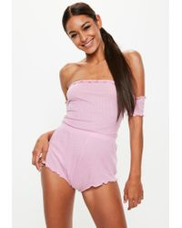 Missguided Pastel Pink Ribbed Lounge Playsuit Teddy