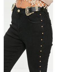 Missguided Black Sinner Western Buckle Jeans