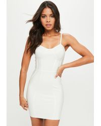 ea392af7c676 Missguided White Premium Bandage Bustcup Dress in White - Lyst