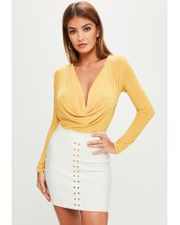 Missguided Mustard Yellow Cowl Bodysuit in Yellow - Lyst 4f3c52959
