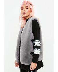 Missguided - Gray Grey Ribbon Side Faux Fur Gilet - Lyst