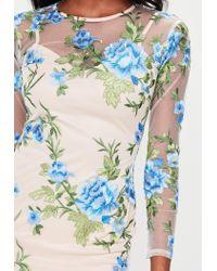 Missguided Multicolor Petite Nude Premium Embroidered Mesh Dress